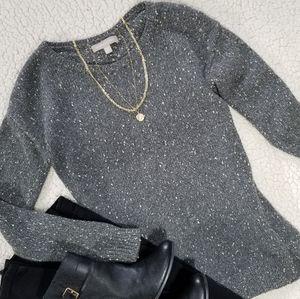 Banana Republic Marled Gray Side Zip Sweater